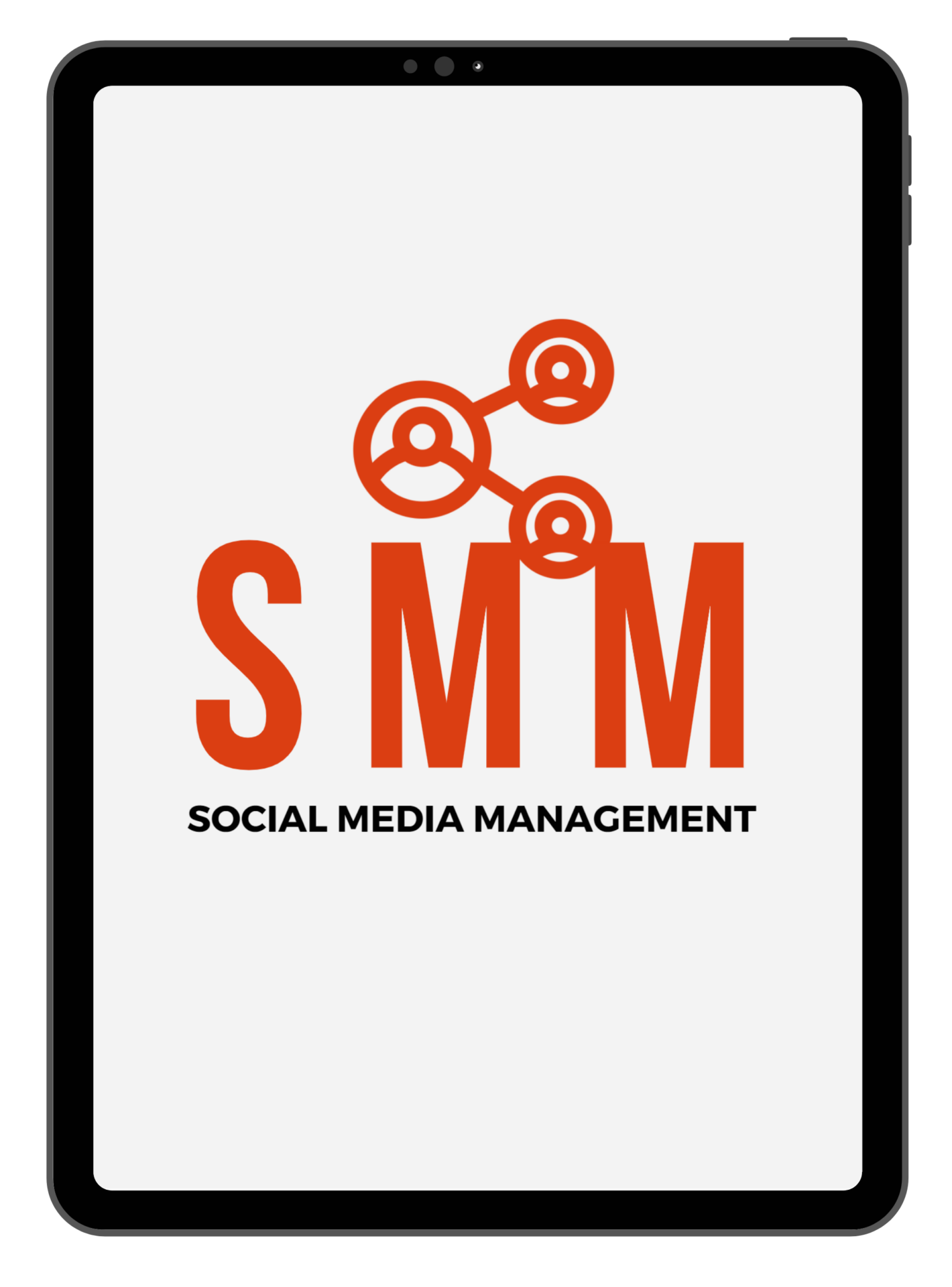 ipad with orange text inside SMM social media management and a symbol of connection